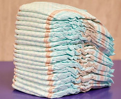 Pile of disposable diapers