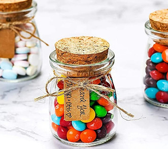 Glass food containers with cork lids