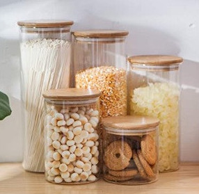 Glass storage with bamboo lids