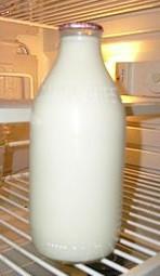 Milk in glass bottle