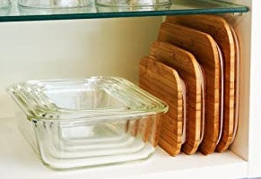 Nesting glass containers with bamboo lids