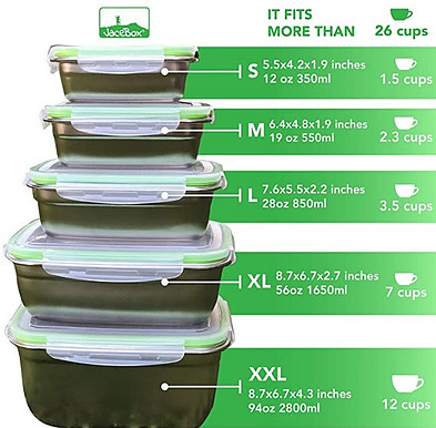 Jacebox stainless steel food containers