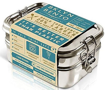 Stainless steel bento lunch boxes stack neatly