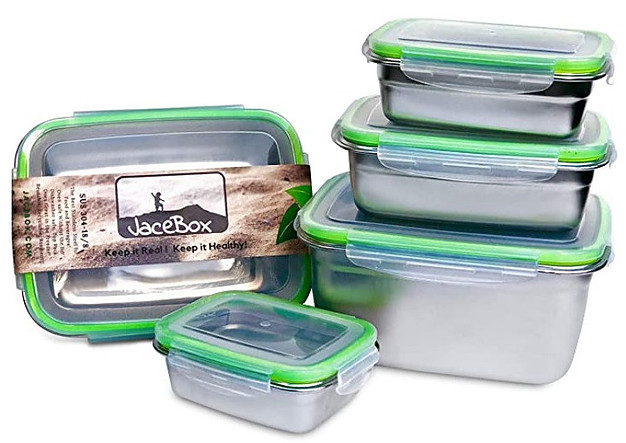 Stainless steel food storage containers with BPA free lids