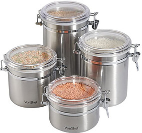 Stainless steel food storage containers with clear hinged lids