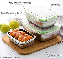 Stainless steel lunchbox with BPA free lids