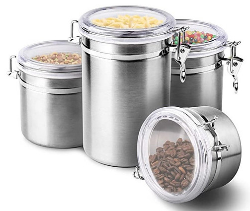 Stainless steel storage containers with hinged lids