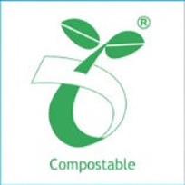 Corn starch plastic compostable logo