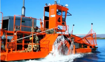 Seaweed harvester is used to harvest the seaweed for fabric made with seaweed