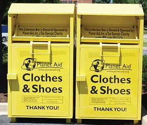 Clothes recycle bins in the community is where to recycle fabric and shoes