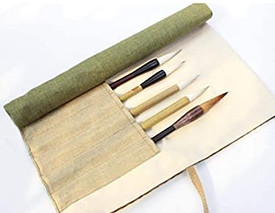 Ramie pouch for brushes and pens