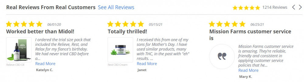 Reviews from Mission Farms CBD happy customers